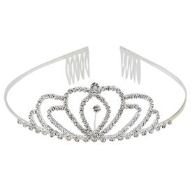Pink Rose - Complement Collection White Alloy Stone Princess Charm Hair Crown Tiara For Women (Head Gear)