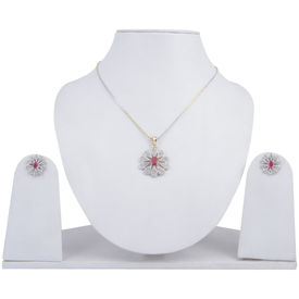 Pink Rose - Complement Collection Ruby White American Diamond Alloy Floral Pendant Set For Women