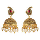 Pink Rose - Bridal Collection Red Gold Copper Pearl Earrings For Women/Girls (Jhumki), copper, 6, multicolour