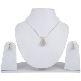 Pink Rose - Complement Collection White American Diamond Alloy Fascinating Pendant Set For Women