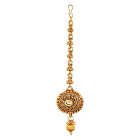 Pink Rose - Complement Collection Gold Alloy Kundan Princess Charm Maang Tikka For Women, 15, gold, alloy