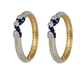 Pink Rose - Complement Collection Blue White American Diamond Alloy Princess Charm Bangles For Women (Set of 2)