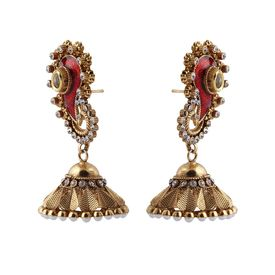 Pink Rose - Complement Collection Red Gold Kundan Copper Mayur Delight Jhumkis For Women