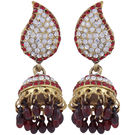 Pink Rose - Complement Collection Maroon Alloy Charm Jhumkis For Women