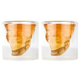 Pink Rose Double Wall Skull Bar Tequila Whiskey Vodka Shot Glass Set For Gift / Diwali Gift (Set Of 2), 9x7x7, glass, white