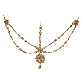 Pink Rose - Bridal Collection Gold Alloy Kundan Matha Patti For Women, alloy, gold, 21