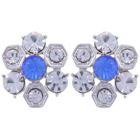 Pink Rose - Complement Collection Blue Silver Alloy Flower Studs For Women