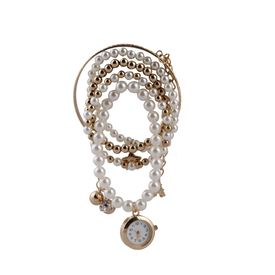 Pink Rose - Complement Collection White Gold Pearl Alloy Princess Charm Bracelet With Analog Watch For Women
