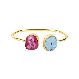 Pink Rose - Designer Collection Multicolour Druzy Stone Copper Charm Kada For Women, free, blue/purple, druzy stone/copper