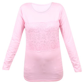Pink Rose Women Full Sleeves Pink Top, s, cotton, pink