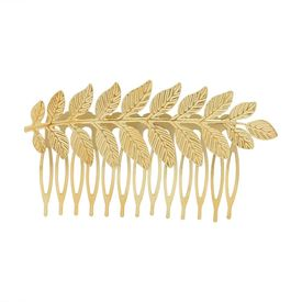 Pink Rose - Complement Collection Gold Alloy Leaf Charm Hair Comb For Women (Head Gear)