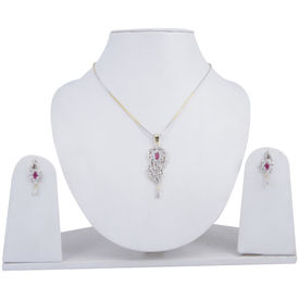 Pink Rose - Complement Collection Ruby White Gold American Diamond Alloy Sparkle Pendant Set For Women