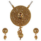 Pink Rose - Devine Collection Gold Kundan Copper Double Chain MangalSutra Set For Women, copper, 22, gold