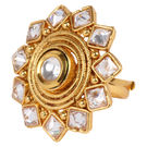 Pink Rose - Bridal Collection Gold White Kundan Polki Stone Copper Ring For Women/Girls, copper, adjuatable, gold