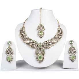 Pink Rose - Complement Collection Green White Alloy Princess Love Necklace Set For Women