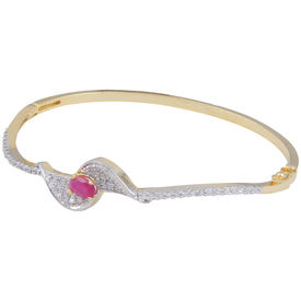 Pink Rose - Complement Collection American Diamond Ruby White Alloy Charm Bracelet For Women