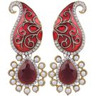 Pink Rose - Complement Collection Meenakari Maroon Pearl Alloy Majestic Drops For Women