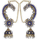 Pink Rose - Complement Collection Blue Alloy Princess Charm Jhumki Earcuffs For Women