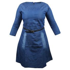 Pink Rose Women Blue Top/Tunic With Belt, l, denim, dark blue