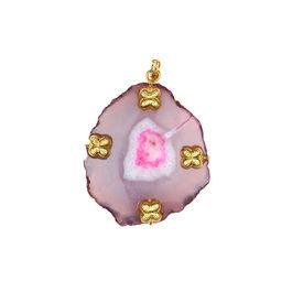 Pink Rose - Designer Collection Multicolour Druzy Stone Copper Charm Pendant For Women, 7, multicolour, druzy stone/copper