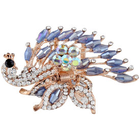 Pink Rose - Complement Collection Blue Alloy Stone Mayur Charm Hair Clutcher For Women