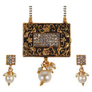 Pink Rose - Devine Collection Gold Black Matt Finish Stone Pearl Copper Double Chain MangalSutra Set For Women, copper, 22, gold/black