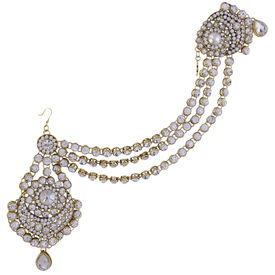 Pink Rose - Complement Collection Gold White Alloy Stones Princess Charm Bridal Hair Accessory For Women (Head Gear/Pasha Set)