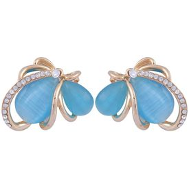 Pink Rose - Complement Collection Blue Stone Alloy Butterfly Studs For Women