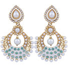 Pink Rose - Complement Collection Meenakari Green White Alloy Love Drops For Women