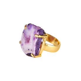 Pink Rose - Designer Collection Purple Druzy Stone Copper Charm Ring For Women, adjuatable, purple, druzy stone/copper