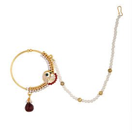 Pink Rose - Complement Collection Multicolour Pearl Stone Alloy Mayur Charm Single Strand Nose Ring For Women, 15, multicolour, alloy