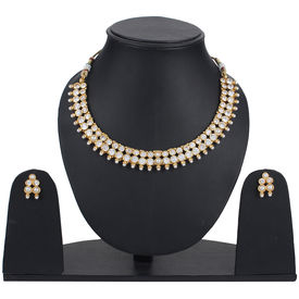 Pink Rose - Complement Collection Gold White Pearl Stone Copper Princess Delight Necklace Set For Women