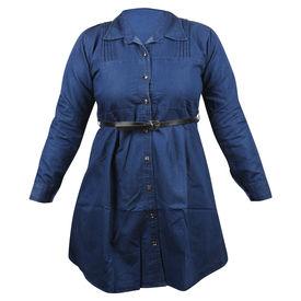 Pink Rose Women Blue Top/Tunic With Belt, m, denim, dark blue