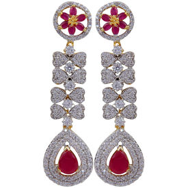 Pink Rose - Complement Collection American Diamond Ruby White Alloy Love Drops For Women