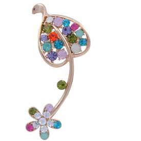 Pink Rose - Complement Collection Multicolour Alloy Leaf Earcuff For Women (Single Ear)