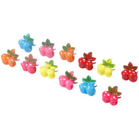 Pink Rose - Fun Collection Multicolour Charm Plastic Hair Clucther Combo For Girls (Set Of 12 Small)