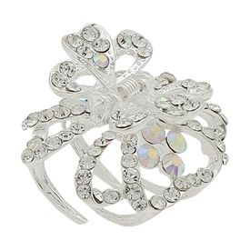 Pink Rose - Complement Collection White Alloy Stone Charm Hair Clutcher For Women (Head Gear)