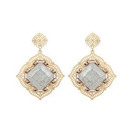 Pink Rose - Golden square Earrings