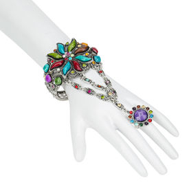 Pink Rose - Fun Collection Multicolour Silver Alloy Stone Charm Hand Thong For Women