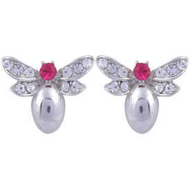 Pink Rose - Complement Collection Pink Silver Alloy Princess Charm Studs For Women