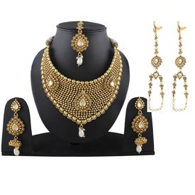 Pink Rose - Complement Collection Gold Kundan Pearl Copper Princess Delight Necklace Set With Maang Tikka And Haath Phool For Women