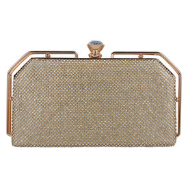 Pink Rose - Party Collection Gold Elegant Clutch For Women/Girls, gold, 27x16x6, pu