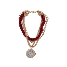 Pink Rose - Complement Collection Maroon Dazzling Bracelet With Analog Watch For Women