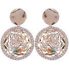 Pink Rose - Complement Collection Gold Alloy Rose Charm Danglers For Women