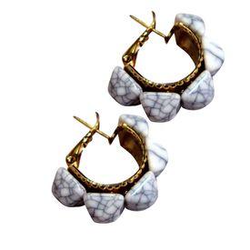 Pink Rose - White spike Earrings