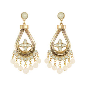 Pink Rose - Golden hanging with droplets Earrings