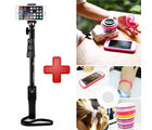 Shopizone Yunteng 1288 Bluetooth Selfie Stick with Silicone Mobile Bumper Band Case - Black