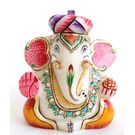 Marble Ganesha With Turban Gold Painted 1, 5 inches