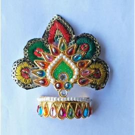 Thread And Moti Work Design Mukut For Thakurji / Mukut Shringar For Bal Gopal