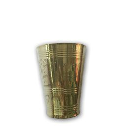 Brass Glass / Designer Embossed Glass / Pooja Glass